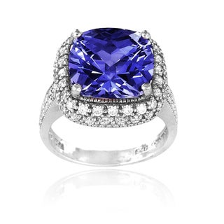 Icz Stonez Sterling Silver 10ct TGW Blue Cubic Zirconia Square Ring