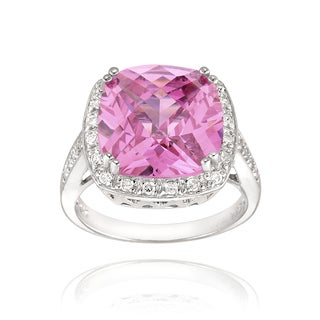 Icz Stonez Sterling Silver 9 7/8ct TGW Pink Cubic Zirconia Square Ring