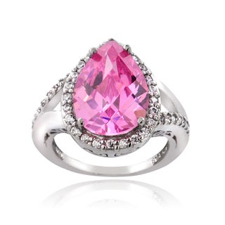 Icz Stonez Sterling Silver 5 4/5ct TGW Pink Cubic Zirconia Pear Cut Ring