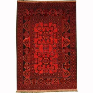 Herat Oriental Afghan Hand-knotted Tribal Khal Mohammadi Red/ Navy Wool Rug (3'4 x 4'11)