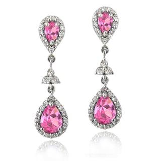 Icz Stonez Sterling Silver 2 5/8ct TGW Pink Cubic Zirconia Teardrop Dangle Earrings