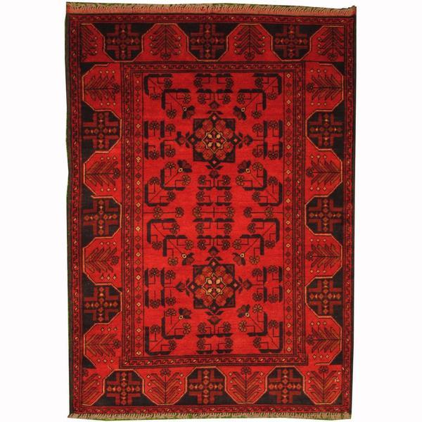 Handmade Herat Oriental Afghan Tribal Khal Mohammadi Red/ Navy Wool Rug (Afghanistan) - 3'5 x 4'10