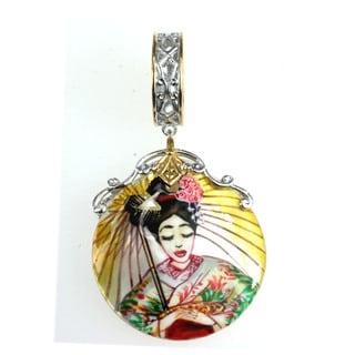 Michael Valitutti Palladium Silver Hand Painted Geisha Shell Charm