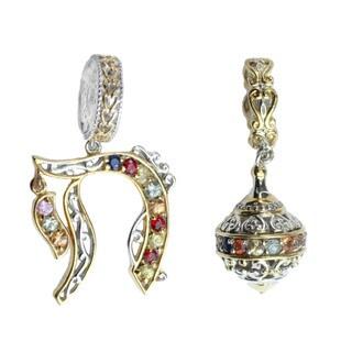 Michael Valitutti Palladium Silver Multi-Sapphire Charm Set