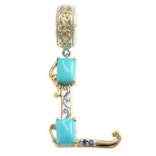 Michael Valitutti Two-tone Sleeping Beauty Turquoise and Blue Sapphire 'L' Charm