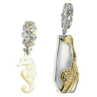 Michael Valitutti Sterling Silver Blue Chalcedony and Mother of Pearl Mermaid and Seahorse Charm Set