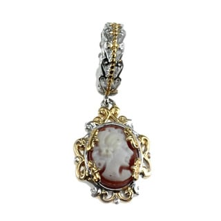 Michael Valitutti Silver Carved Pink Face and Flower 2-sided Cameo Charm