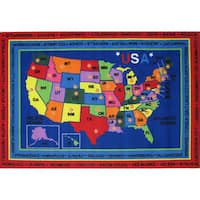 State Capitals Blue Accent Rug (8' x 11')