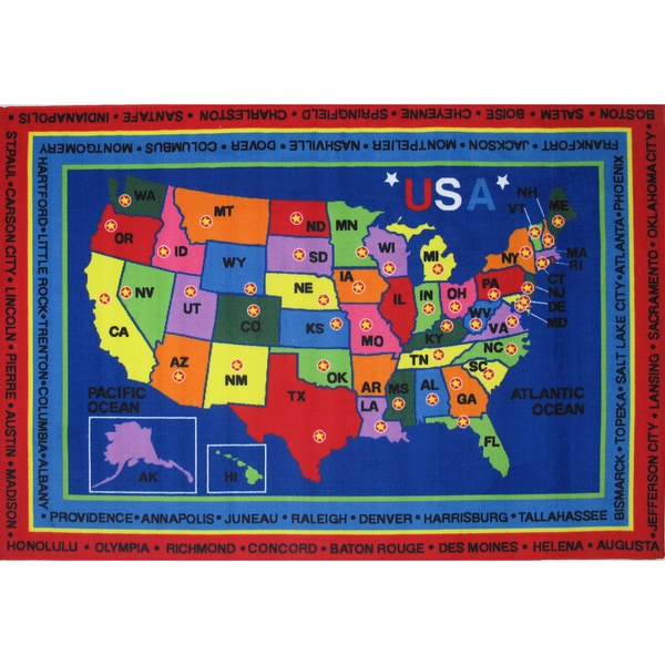 State Capitals Blue Accent Rug - 8' x 11'