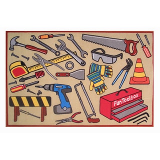 Fun Toolbox Brown Accent Rug (4'3 x 6'5)