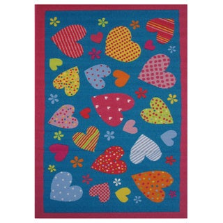 """Hearts Turquoise Nylon Accent Rug - 1'6"""" x 2'4"""""""