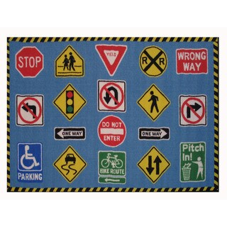 Traffic Signs Blue Nylon Accent Area Rug (1'6 x 2'4)