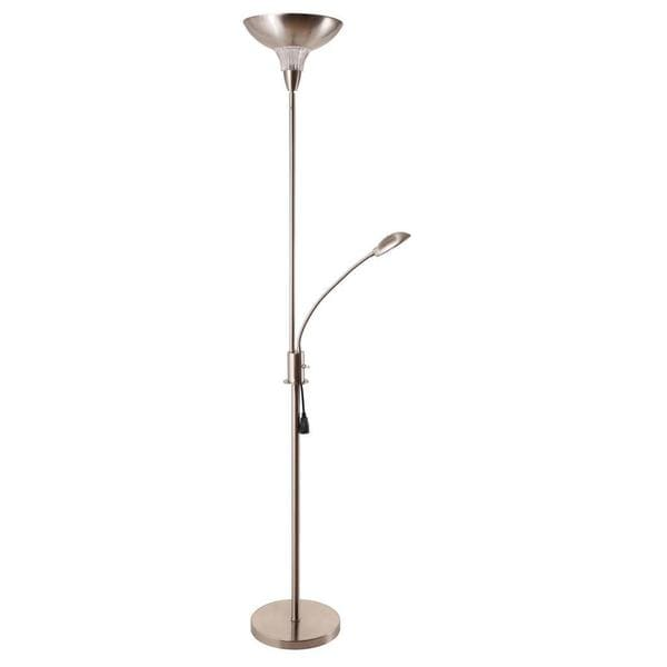 task torchiere 2 light floor lamp with gooseneck style reading led. Black Bedroom Furniture Sets. Home Design Ideas