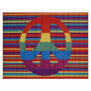 Groovy Peace Multi-colored Accent Rug (1'6 x 2'4)