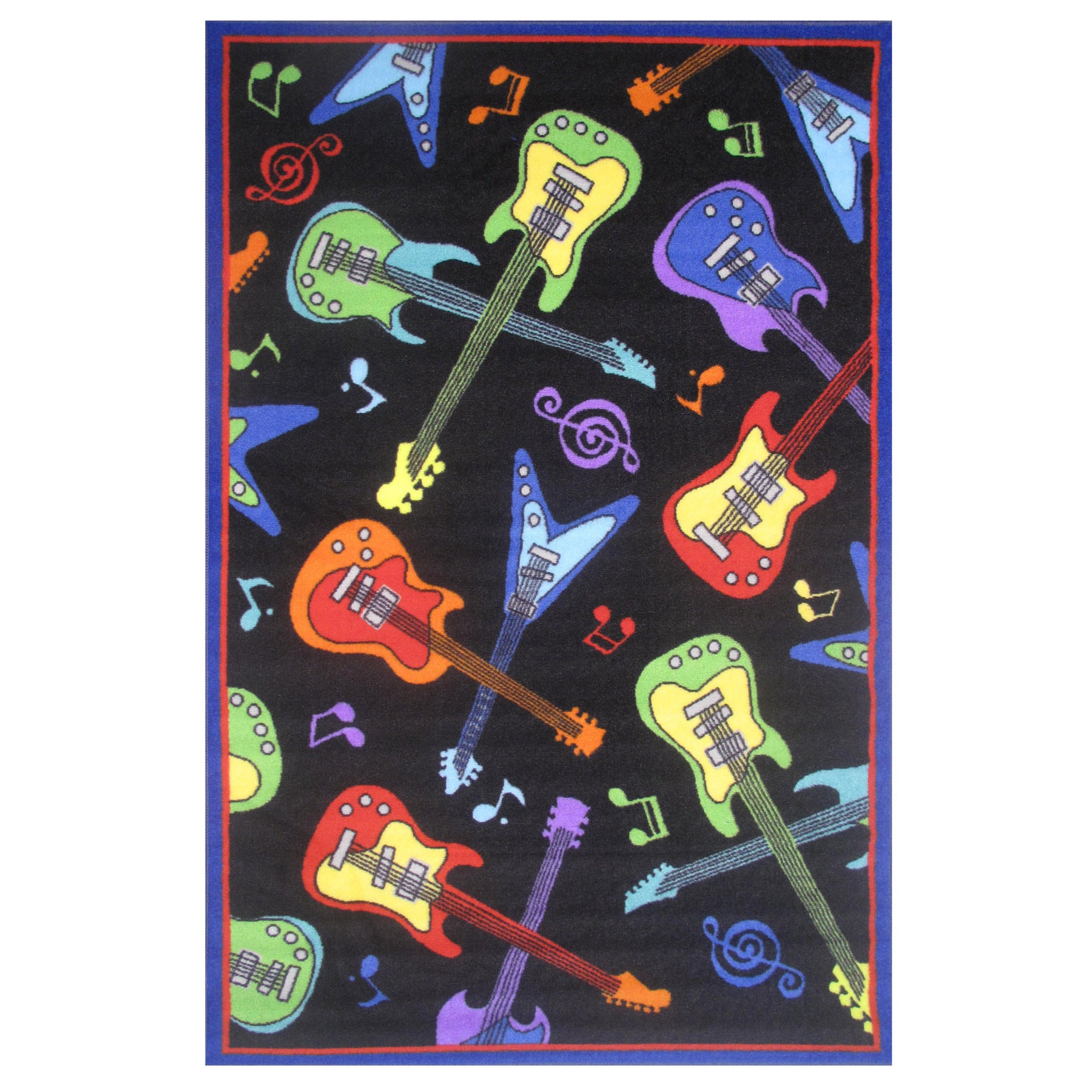 LA RUG Guitars Black Accent Rug (1'6 x 2'4) (19 inch x 29...