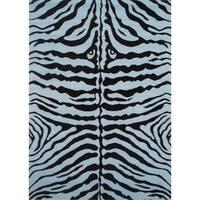 Zebra Blue Accent Rug (1'6 x 2'4)