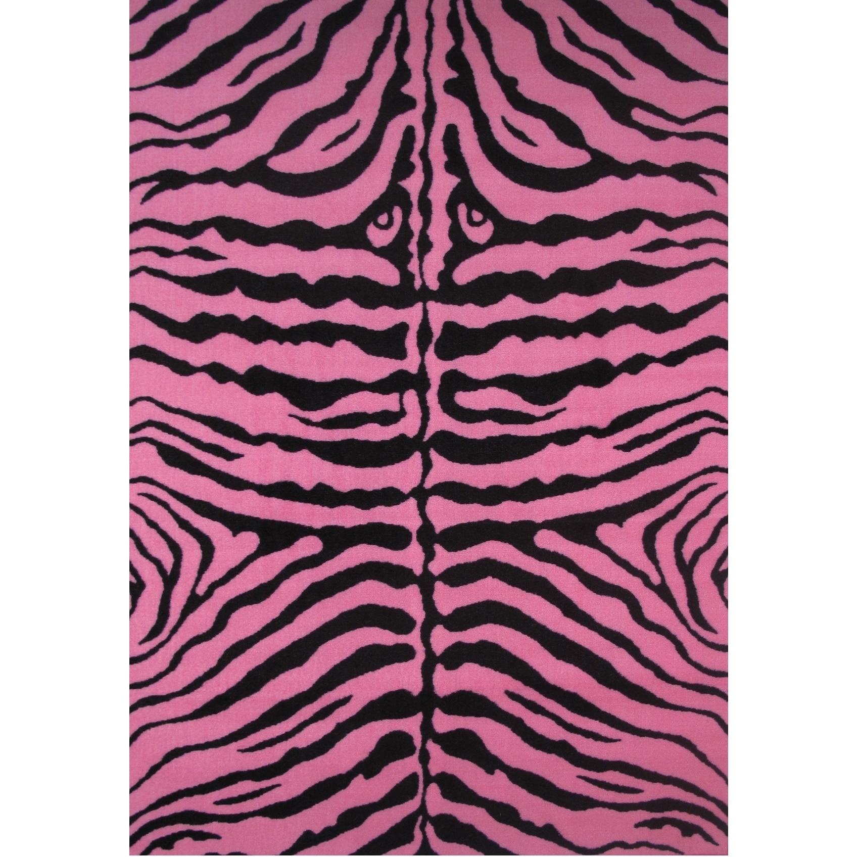 LA RUG Zebra Pink Accent Rug (1'6 x 2'4) (19 inch x 29 in...