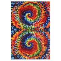 Tie-Dye Multi-colored Accent Rug - 1'6 x 2'4