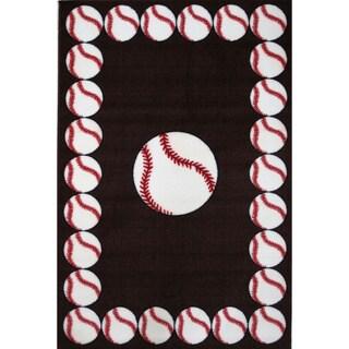 Baseball Time Black Accent Rug (1'6 x 2'4)