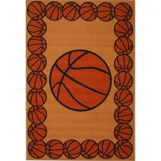 Basketball Time Orange Accent Rug (1'6 x 2'4)