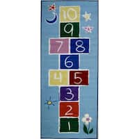 Primary Hopscotch Blue Accent Rug (1'6 x 2'4)