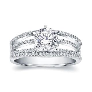 Auriya 14k White Gold 1 1/6ct TDW Certified Round Diamond Engagement Ring