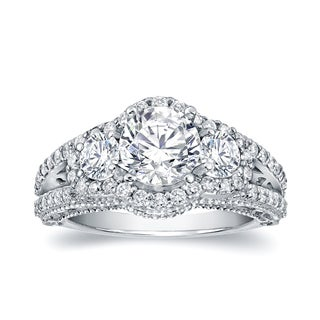 Auriya 14k White Gold 2 1/5ct TDW Certified Round Diamond Engagement Ring
