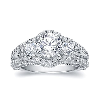 Auriya 14k White Gold 2 1/5ct TDW Certified Round Diamond Engagement Ring (H-I, SI1-SI2)