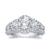 Auriya 14k White Gold 2 1/5ct TDW Vintage 3-Stone Certified Diamond Halo Engagement Ring