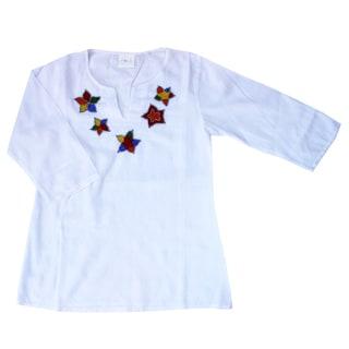 Azul Swimwear Girls White Beaded Tunic