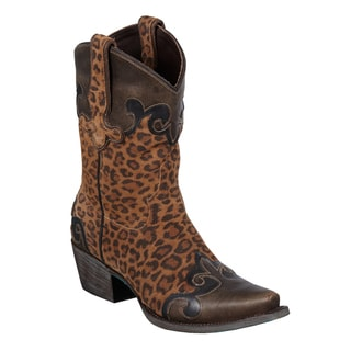 Lane Boots Women's 'Dakota' Cheetah Printed Leather Cowboy Boots