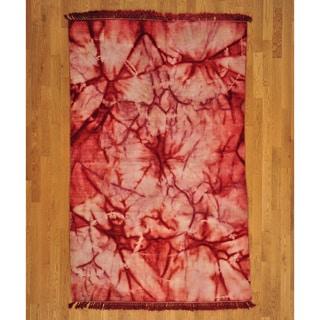 Crimson Red Tie Dye Rug (5'1 x 8')