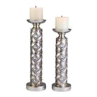 14-inch and 16-inch Silver Dazzle Candleholder Set