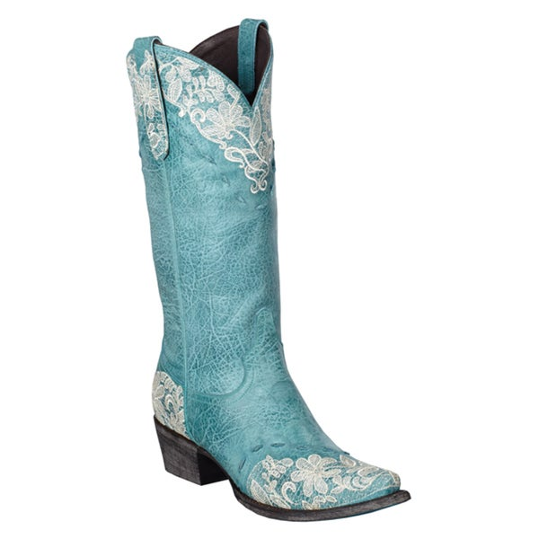 Lane Boots Women&39s &39Jeni Lace&39 Blue Leather Cowboy Boots - Free