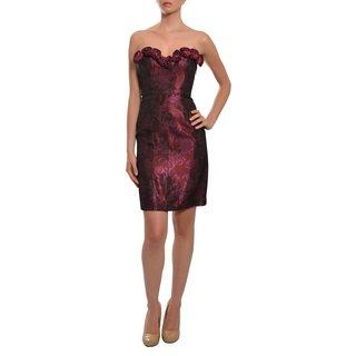 Lotus Grace Women's Raspberry Brocade Sweetheart Dress (Size 4)