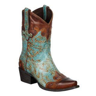 Lane Boots Women's 'Dakota' Brown and Turquoise Leather Cowboy Boots