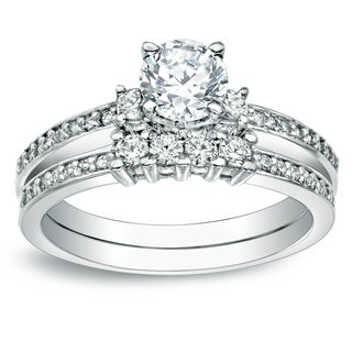Auriya 14k Gold 1 1/3ct TDW Certified Round Diamond Bridal Ring Set
