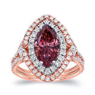 Auriya 18k Two-tone Gold 3 1/8ct TDW Pink Diamond Marquise Double Halo Ring (SI1-SI2)