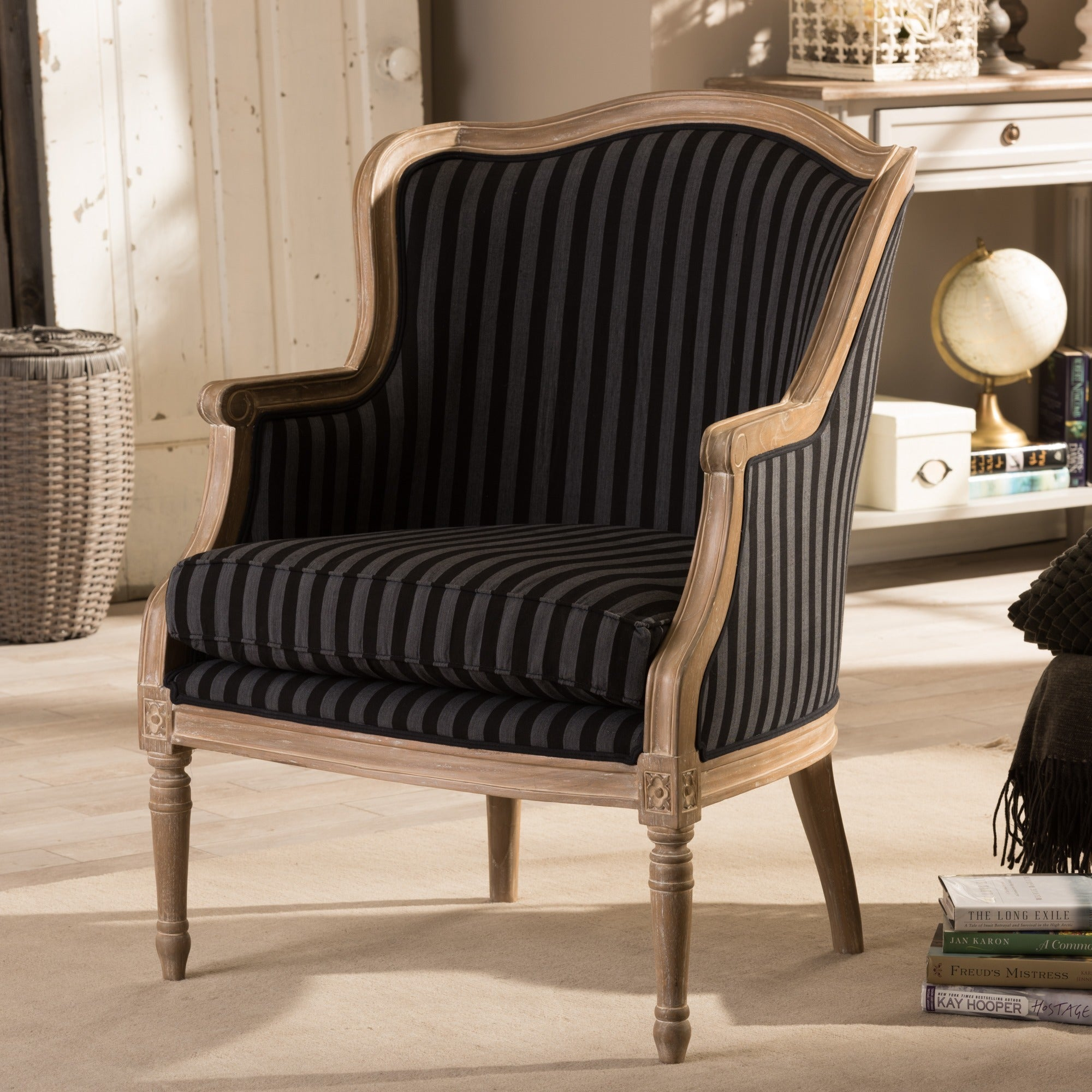 Surprising Baxton Studio Charlemagne Traditional French Black And Grey Striped Accent Chair Pabps2019 Chair Design Images Pabps2019Com