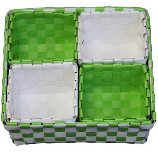 Green/ White Baskets (Set of 5)