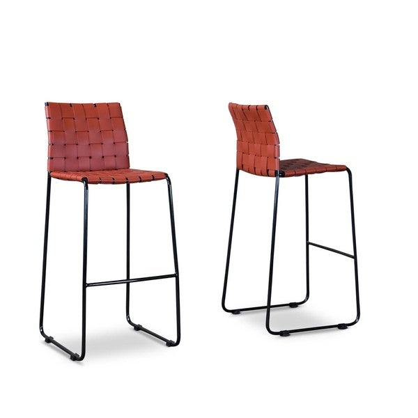 Baxton Studio Fairfield Red Bar Stools Set Of 2 Free
