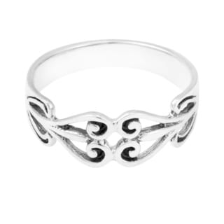 Handmade Sterling Silver Binding Love Two Hearts Ring (Thailand)