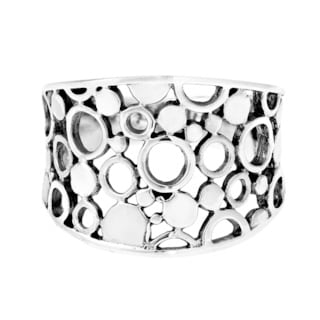 Sterling Silver Modern Illusion Dots and Bubbles Ring (Thailand)