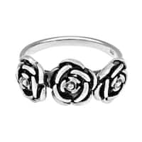 Handmade Three Roses of Love .925 Sterling Silver Ring (Thailand)