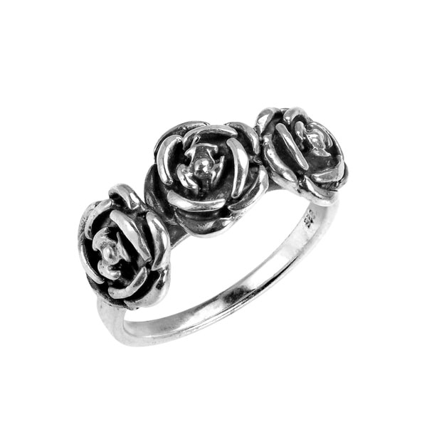 Handmade Three Roses of Love 925 Sterling Silver Ring Thailand