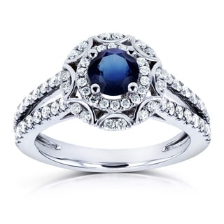 Annello by Kobelli 14k White Gold Blue Sapphire and 1/2ct TDW Floral Vintage Diamond Split Band Ring