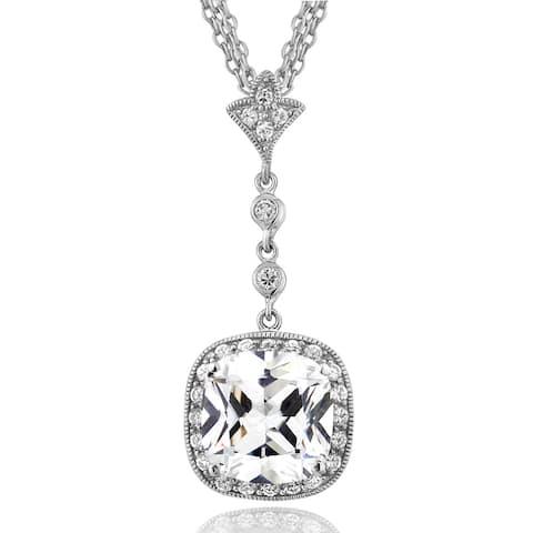 Icz Stonez Sterling Silver 13 5/8ct TGW Cubic Zirconia Three Strand Necklace