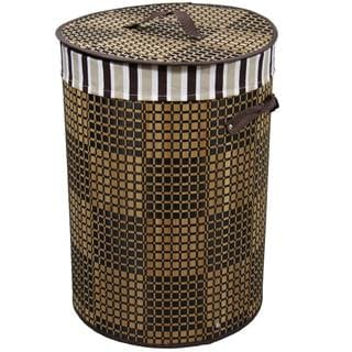 Checkered Round Folding Bamboo Laundry Basket with Handle