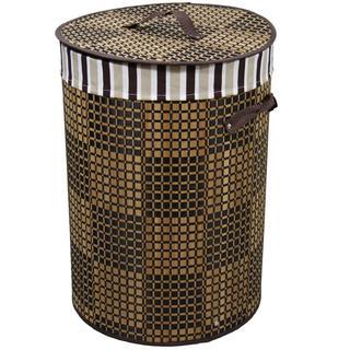 Checkered Round Folding Bamboo Laundry Basket with Handle