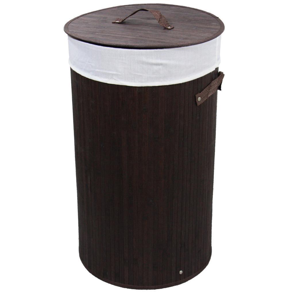 ORE International Round Folding Bamboo Laundry Basket wit...